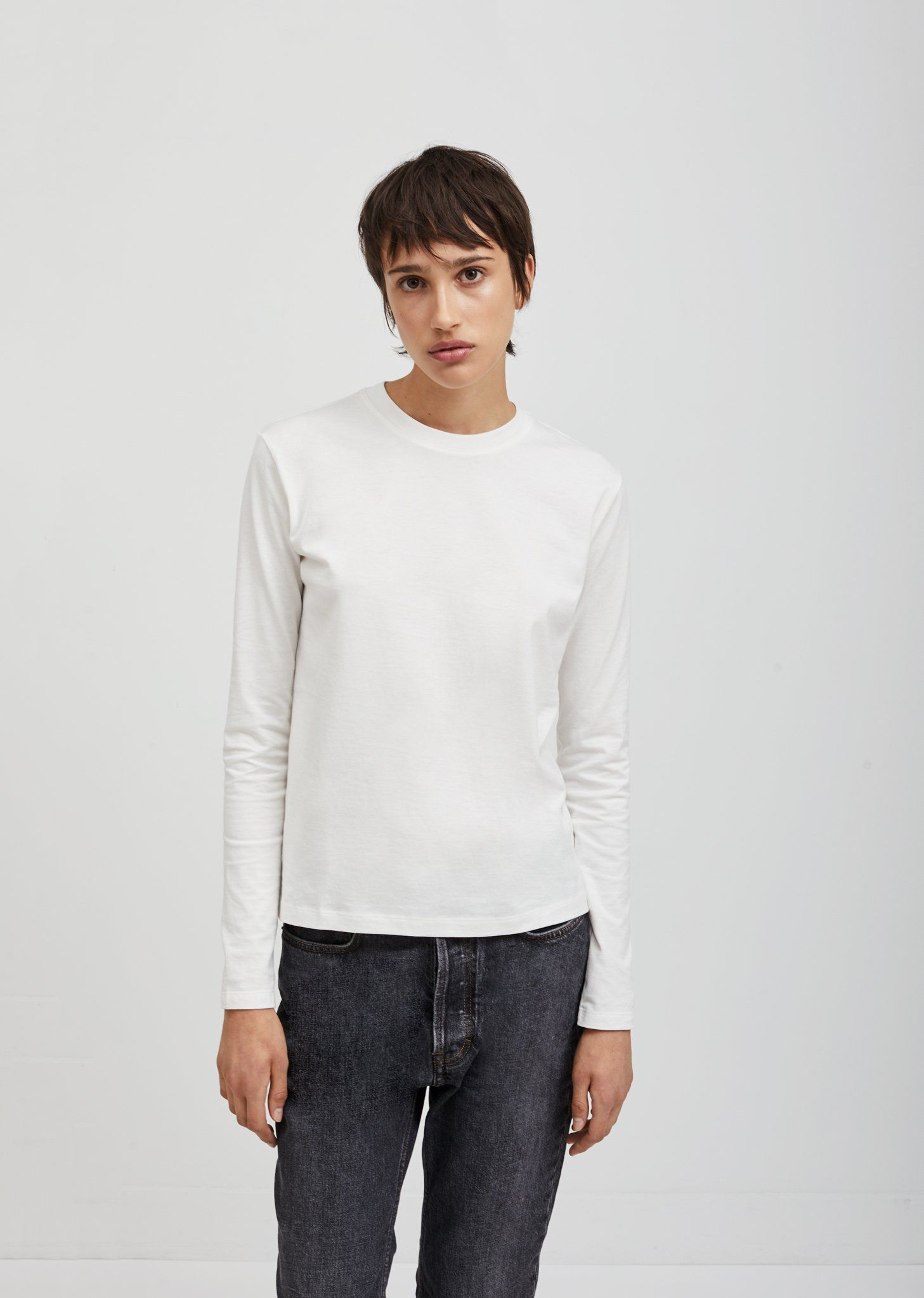 65d318127971 White long sleeve tee in cotton jersey with ribbed neckline. Relaxed, slim  fit.