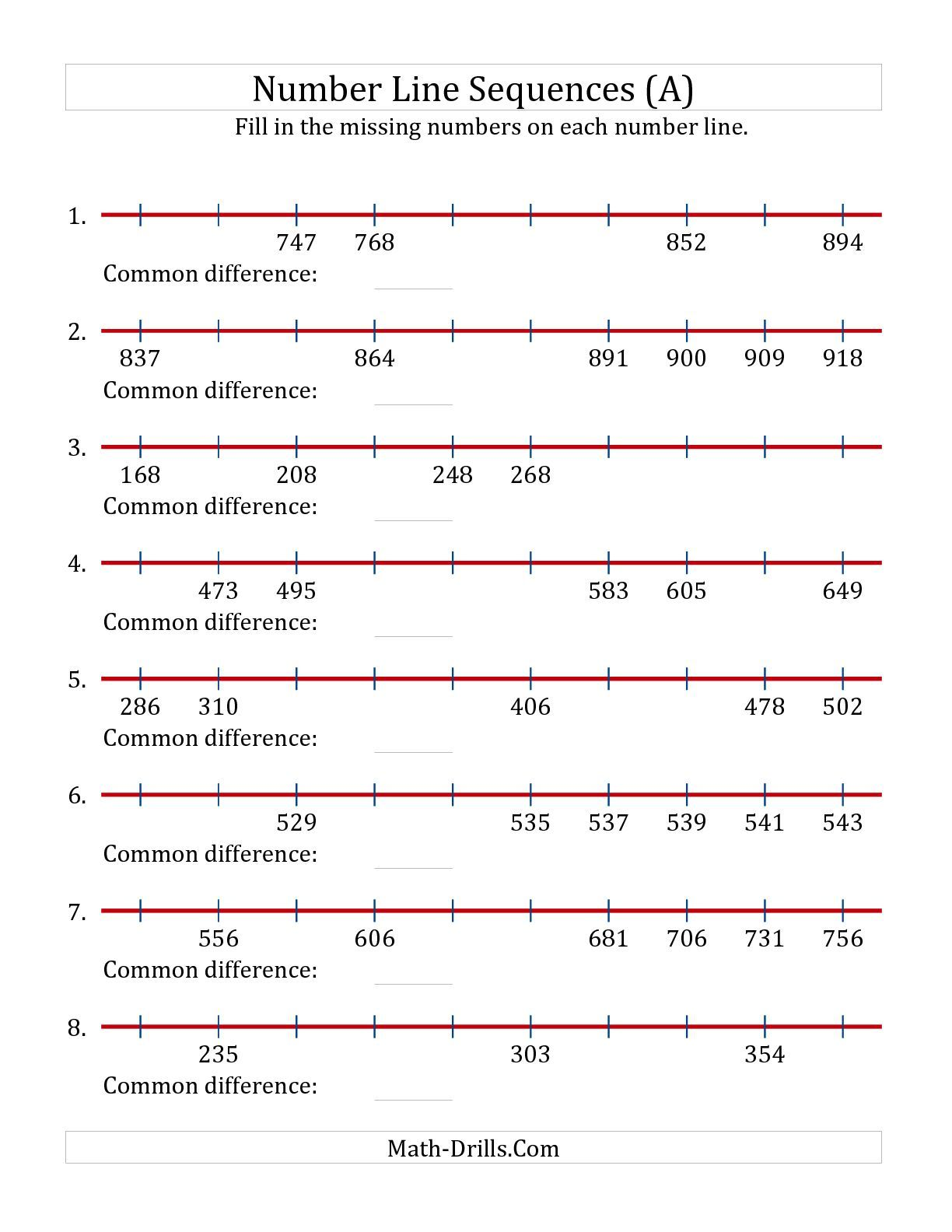The Increasing Number Line Sequences With Missing Numbers