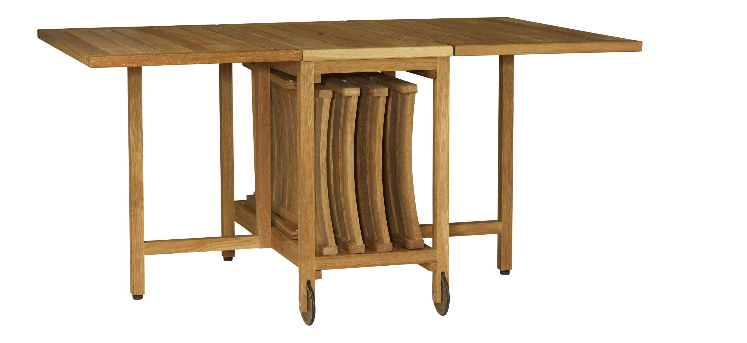 Zeno table pliante et 4 chaises en ch ne massif huil - Chaise pliante pas cher ikea ...
