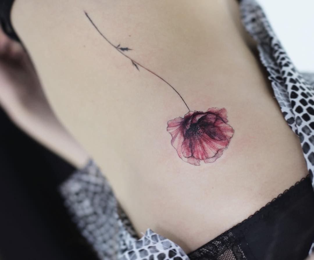 Poppy  #tattoo#tattoos#tattooing#tattoowork#tattooart#flowertattoo#colortattoo#germanytattoo#germany#frankfurt#타투#꽃타투#타투이스트꽃#tattooistflower