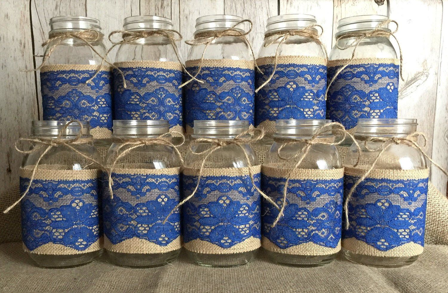 10 Royal Blue Jar Sleeves Burlap Jar Sleeves Wedding Baby