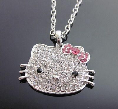 Large Hello Kitty pink bow crystal BLING  pendant