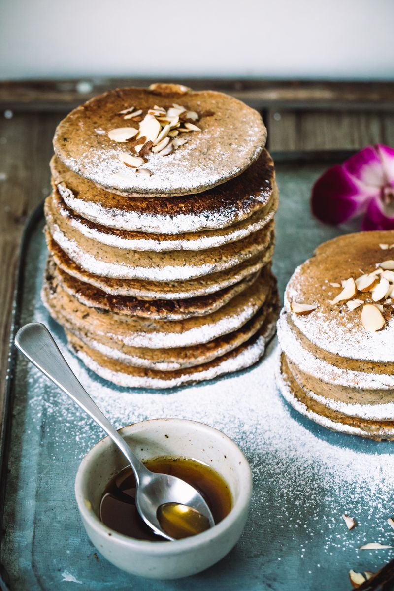 rum buckwheat pancakes with vanilla maple syrup (dairy free)