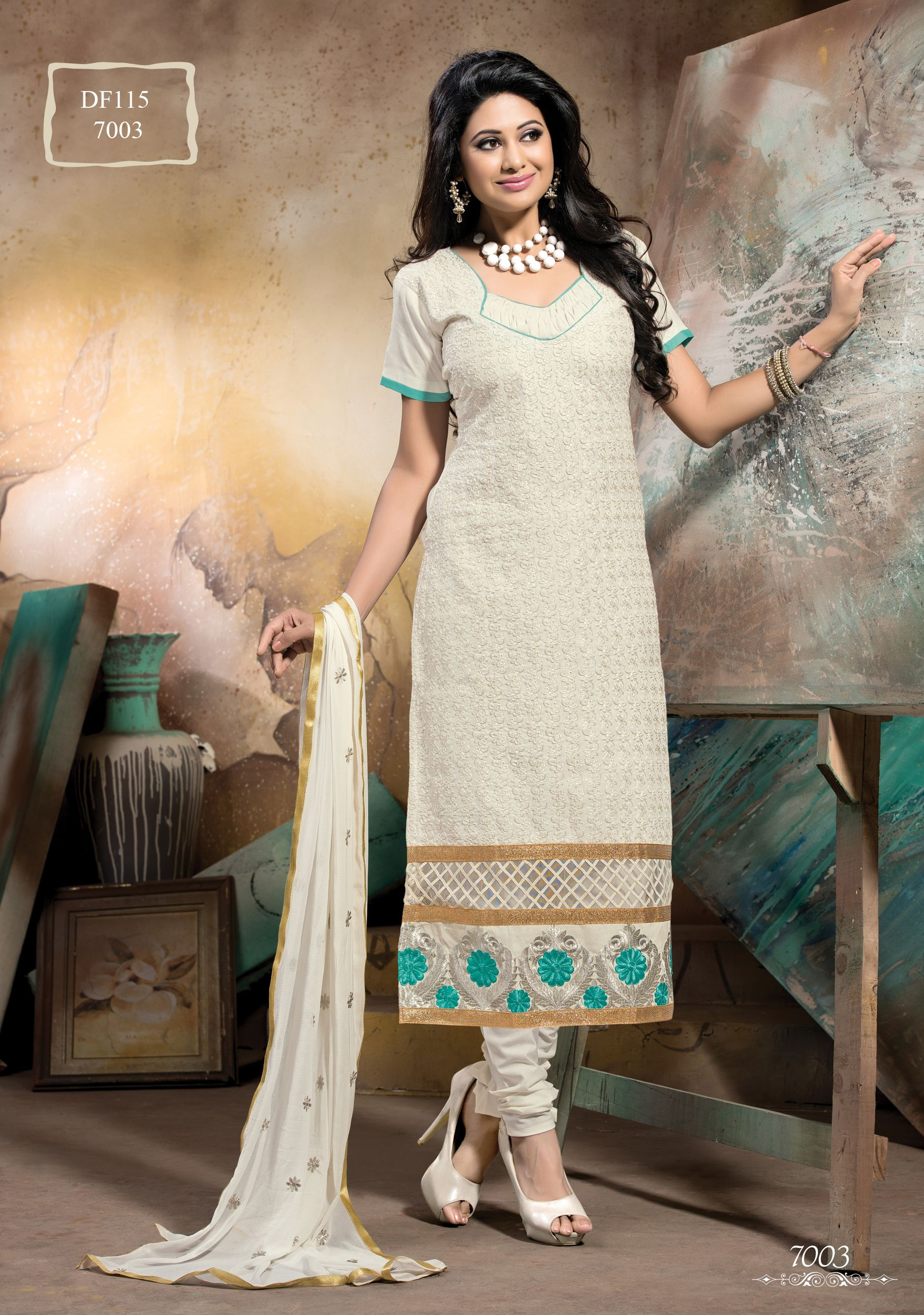 Latest white long straight designer salwarkameez with discount
