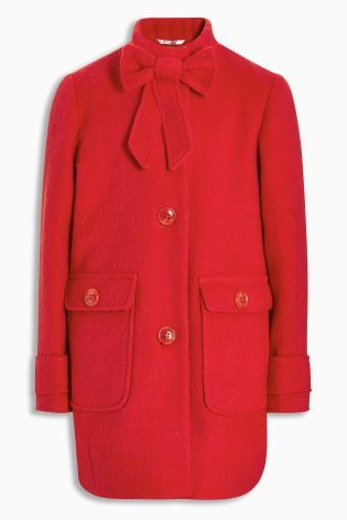 Buy Red Bow Detail Coat (3-16yrs) online today at Next: Portugal ...