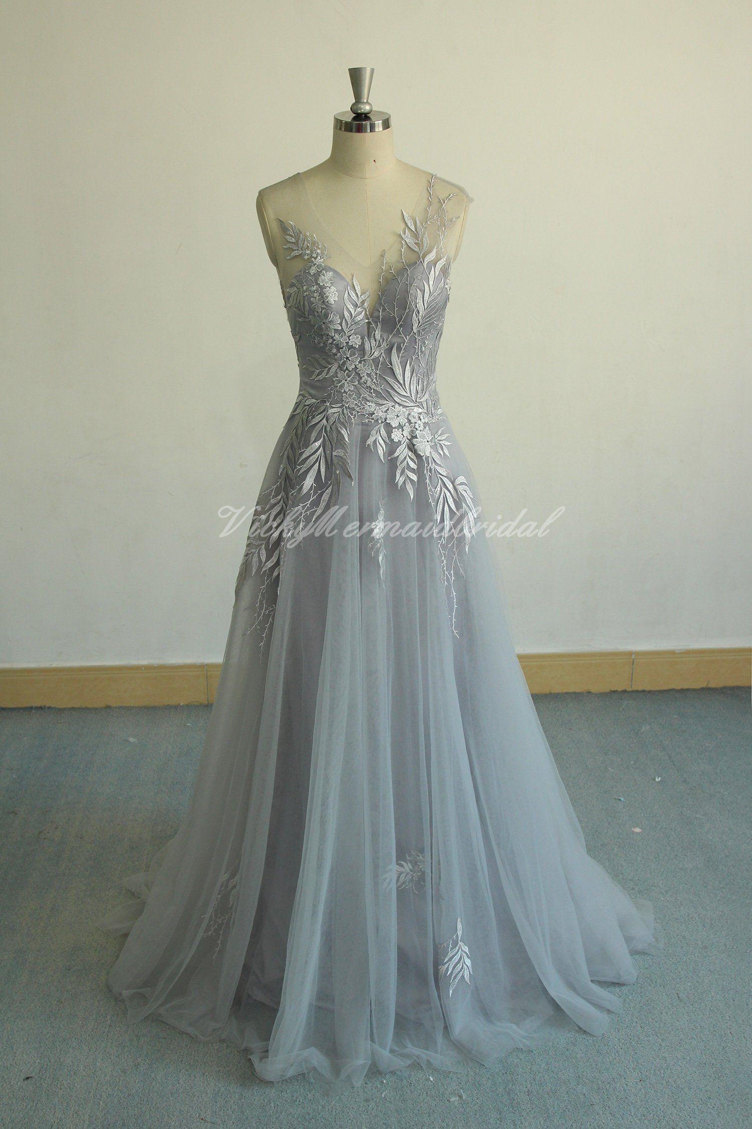 Unique Aline Tulle Lace Wedding Dress Dusty Blue Bridal Gown Etsy Lace Wedding Dress Vintage Grey Evening Dresses Grey Wedding Dress [ 2250 x 1500 Pixel ]