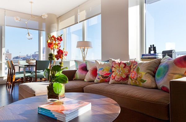 Colorful Living Room In Manhattan Condo, How Brilliant Are These Cushions?  #interiors #