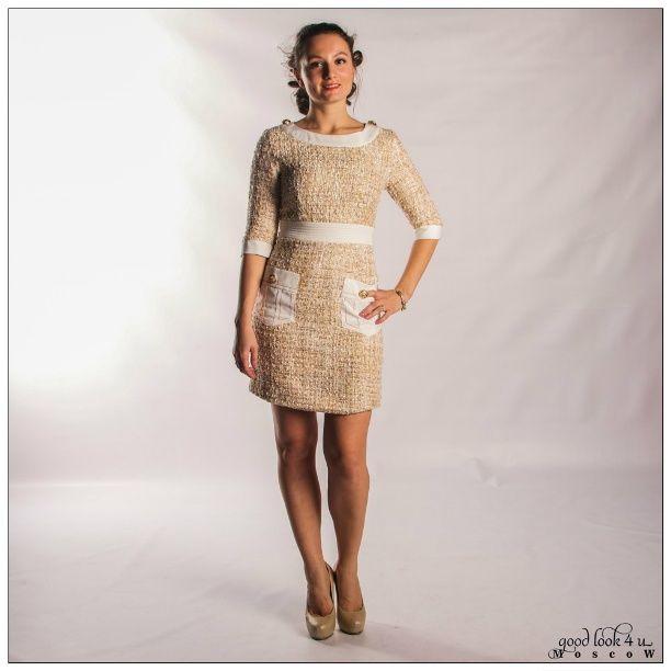f55f2104f3f Платье в клеточку букле Chanel с карманами (розовое). Очень красивое  платьице трапецевидной формы