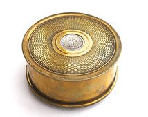 WWI Trench Art Vintage Trinket Box Guilloche Caddy Artillery Shell Case WWI Military Collectible Brass Trinket Box 1916 German Mark