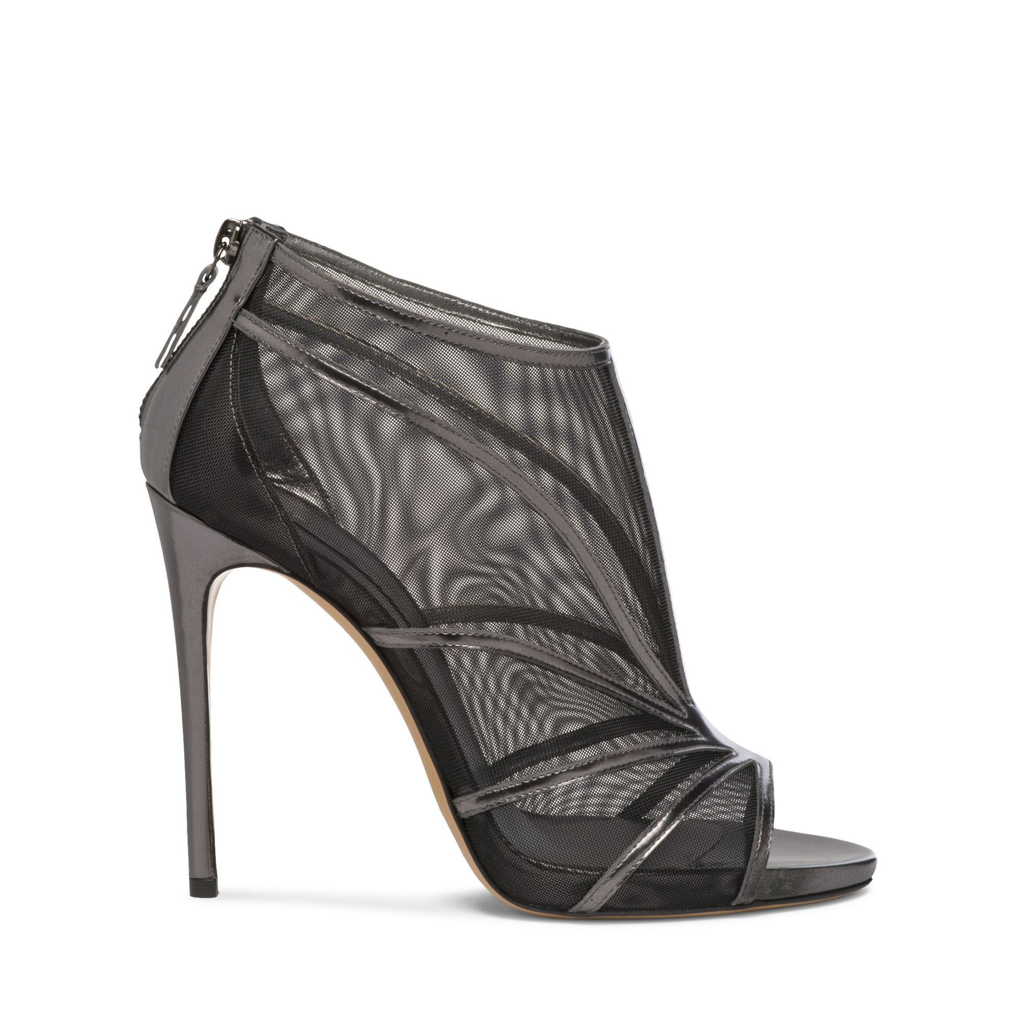 EVENING casadei #casadeiworld Nude-look sandal with black mesh panels and narrow zinc laminated mirrored-leather. Stiletto leather covered heel. 3.9 inches with a 0.4 inches concealed plateau. Laminated Mirrored-Leather, Mesh Made in Italy