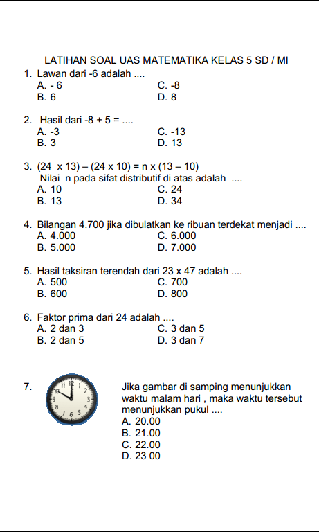 Download Soal Soal Un Matematika