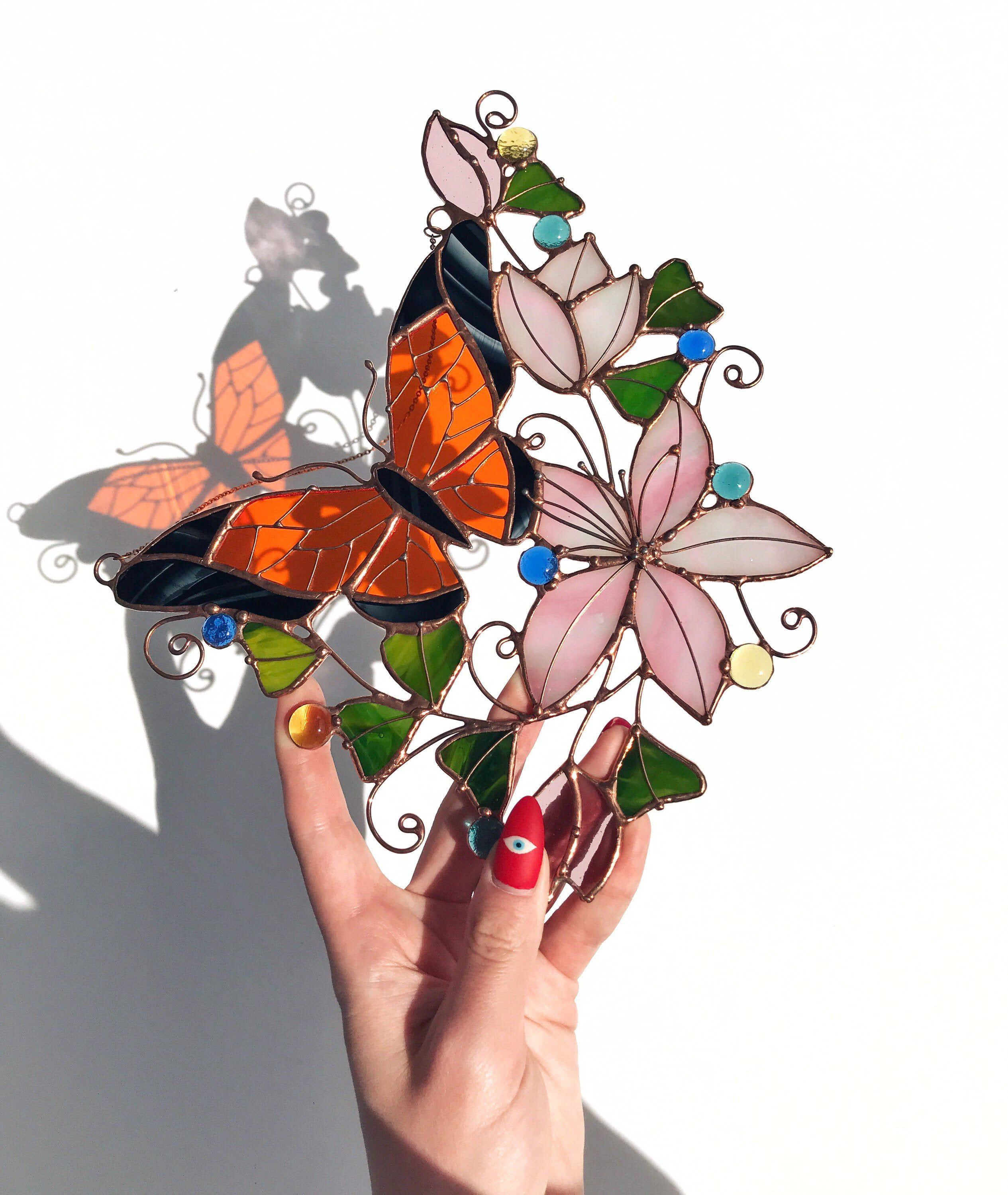 Excited to share the latest addition to my #etsy shop: Rainbow Suncatcher Monarch Butterfly Flower Glass Picture Home House Decor Panel Ornament Garden Window Wall Hanging Light Cling Pendant #pink #birthday #passover #stainedglass #orange #craft #artdeco #homedecorkitchen #wallflowerssign