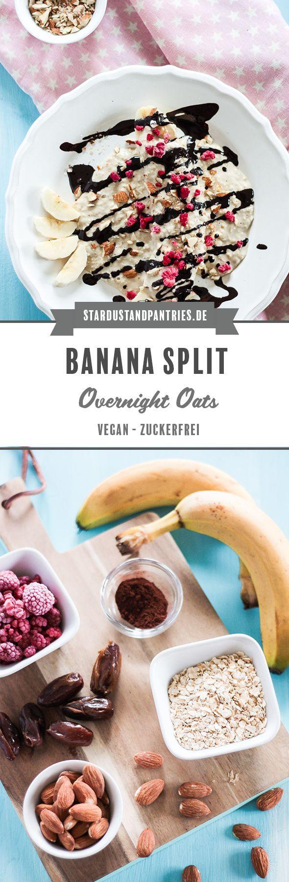 Gesunde und vegane Banana Split Overnight Oats (kinderfreundlich) #fiberfruits