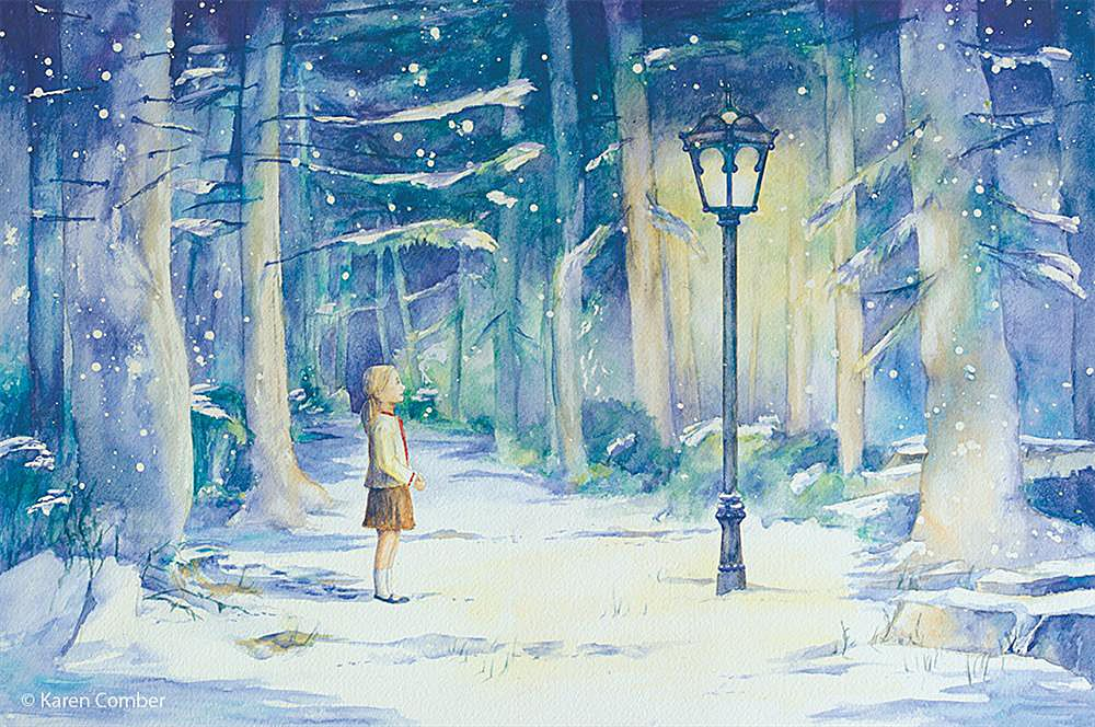 Image result for illustrations of the Narnia lamp post