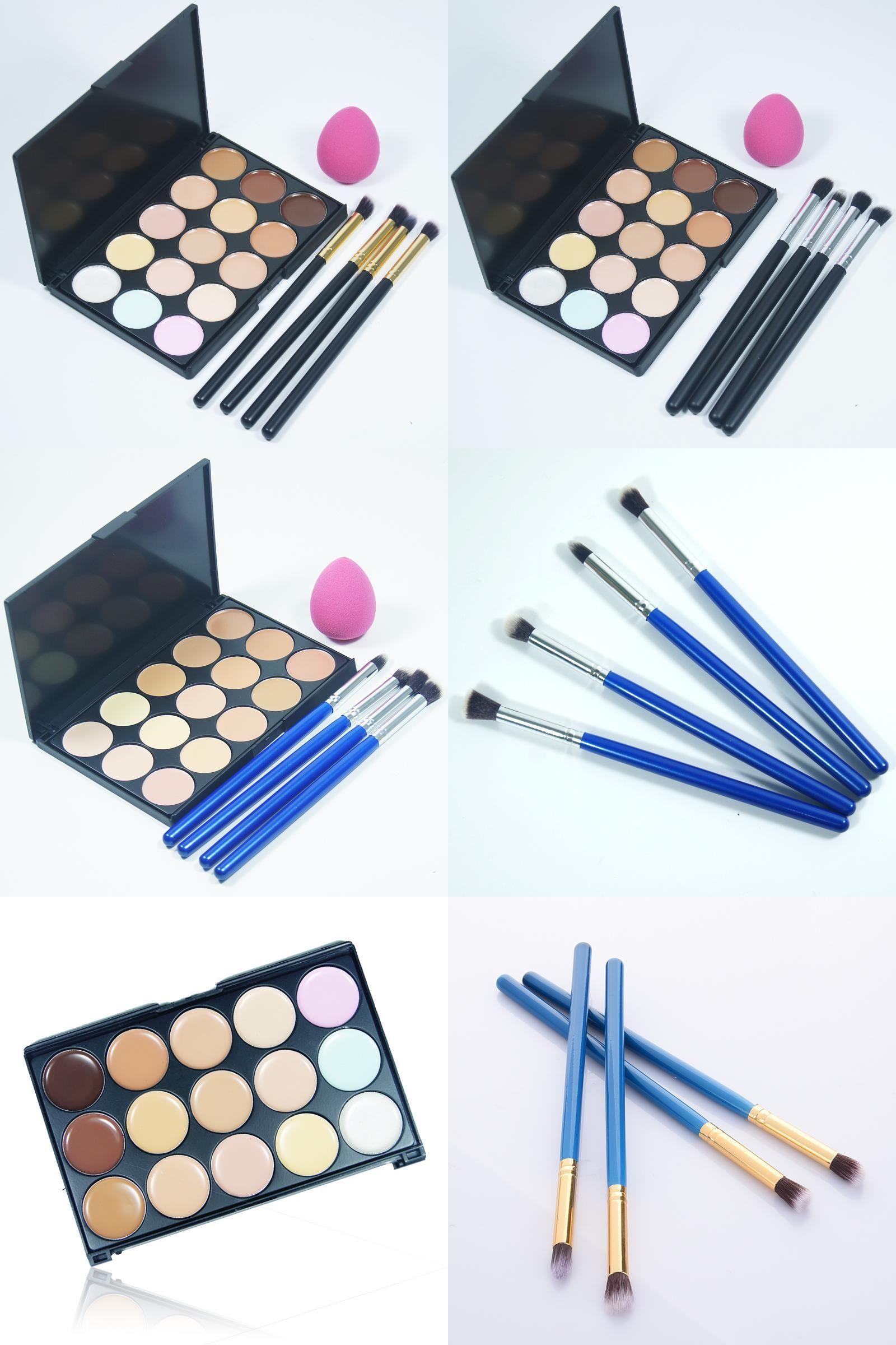 [Visit to Buy] 4pcs/set Makeup Brush And Cosmetic