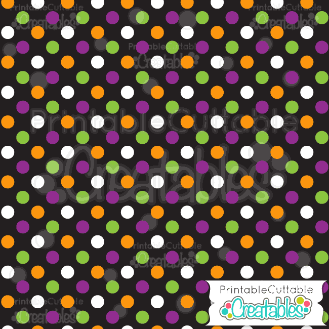 Black Multi Halloween PolkaDots Free Digital Paper  Cricut