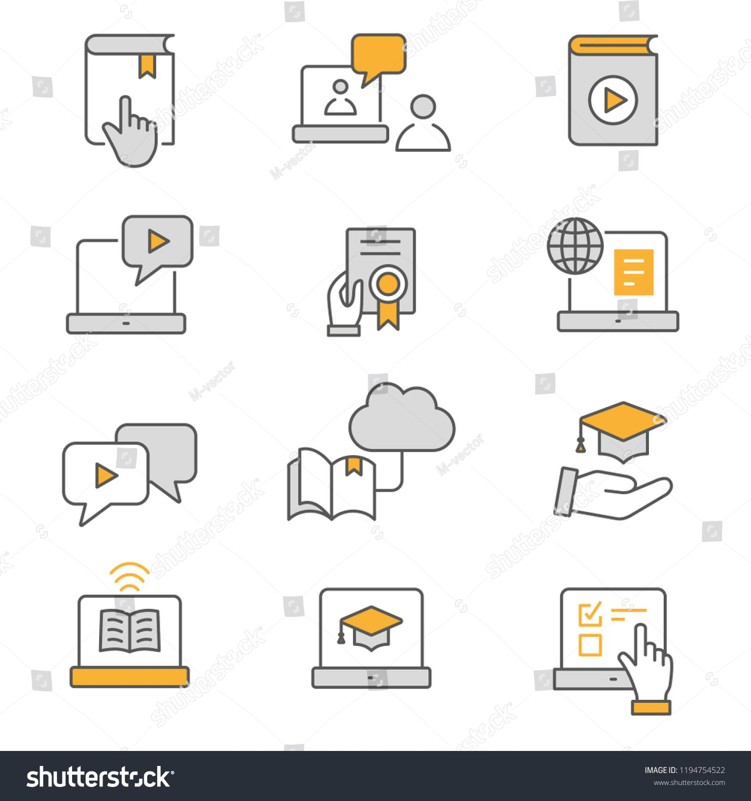 E Learning Distance Education Flat Line Icons Set Of Graduation Cap Training Laptop Learn Online Webinar And More Distance Education Elearning Line Icon