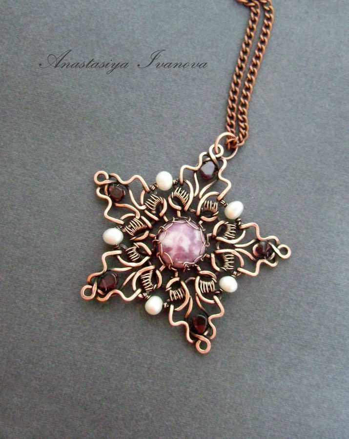 Copper wire wrapped star shape with garnets | Wirework | Pinterest ...