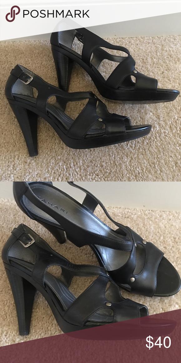 Tahari Shoes | Black Peeptoe Pump With 3 Inch Heel | Poshmark