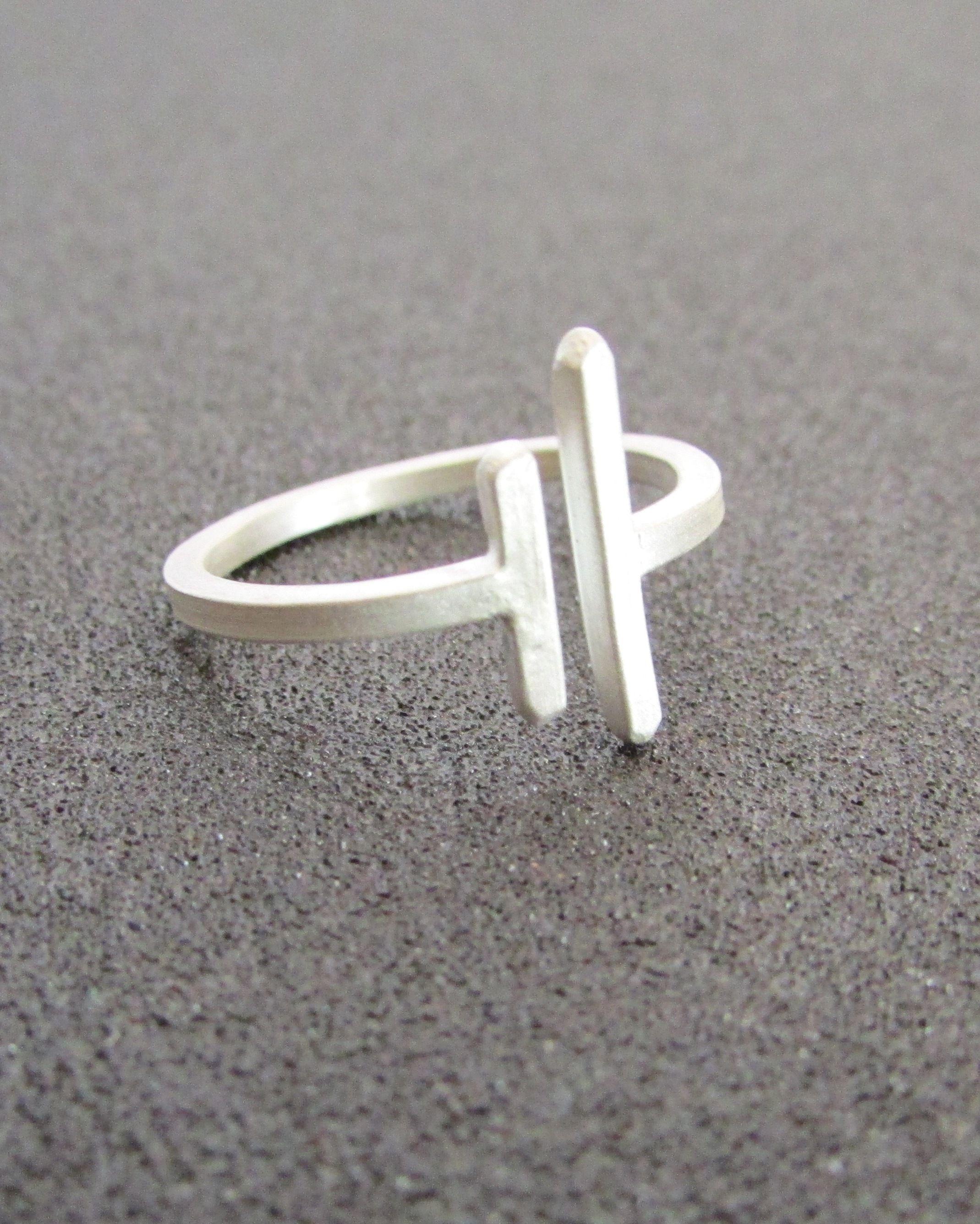 Minimal Geometric Ring, Two Bars Sterling Silver Unisex Jewellery ...