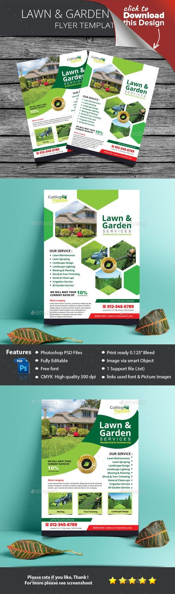 Lawn Garden Services Flyer Template Template And Fonts
