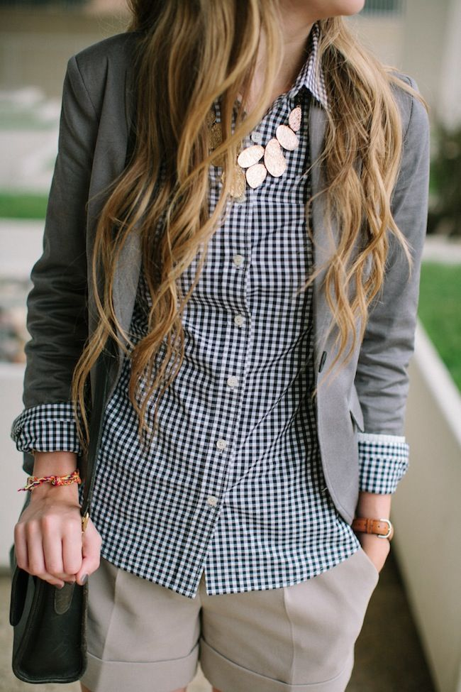 gingham and a blazer