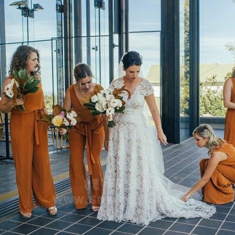 V-Neck Ginger Orange Chiffon Bridesmaid Jumpsuit with Sash #bridesmaidjumpsuits