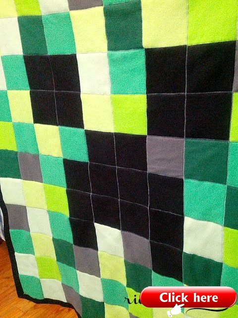 Minecraft Creeper Fleece Blanket Blanket Diy Pattern