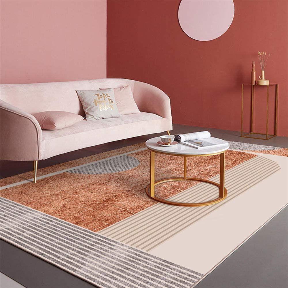 tapis marron a fines rayures motif