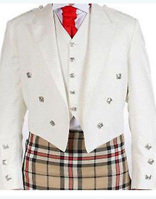 Prince Charlie Jacket /& Waist coat White Men Scottish Jacket Wool