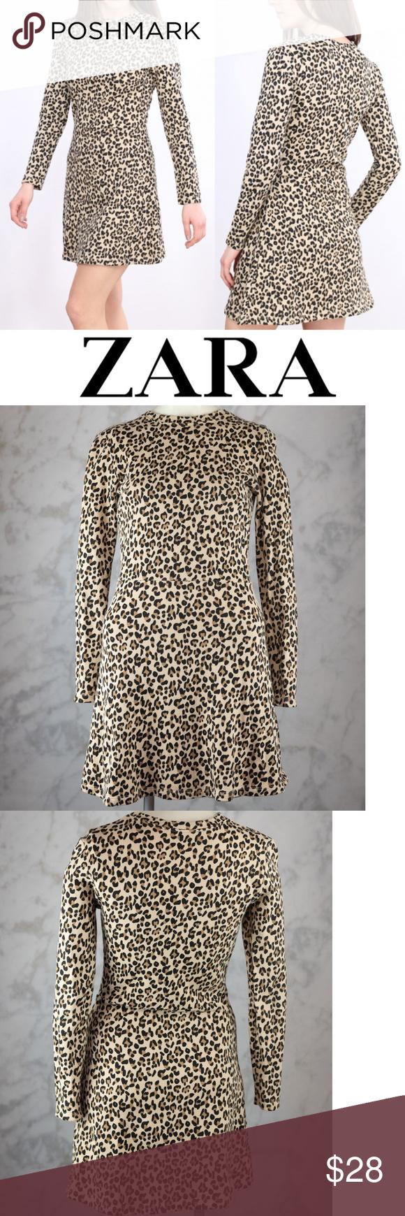 Zara Trf Leopard Print Long Sleeve Dress Small Long Sleeve Print Dress Long Sleeve Dress Animal Print Dresses