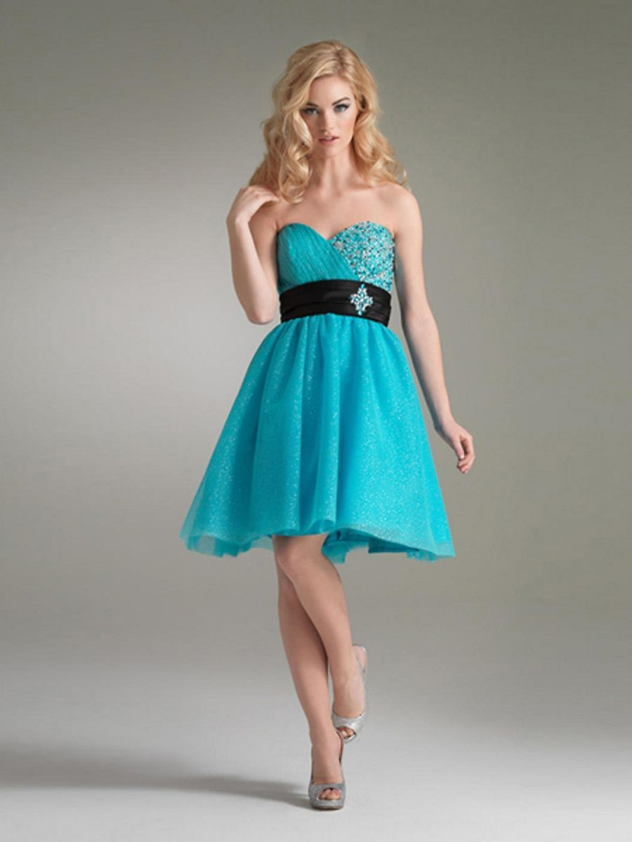 Sweetheart Ice Blue Chiffon Short A Line Beaded And Black Sash ...