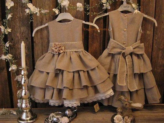 Country Flower Girl Dresses | dress. Dark beige linen flower girl dress. Linen girls dress. Country ...