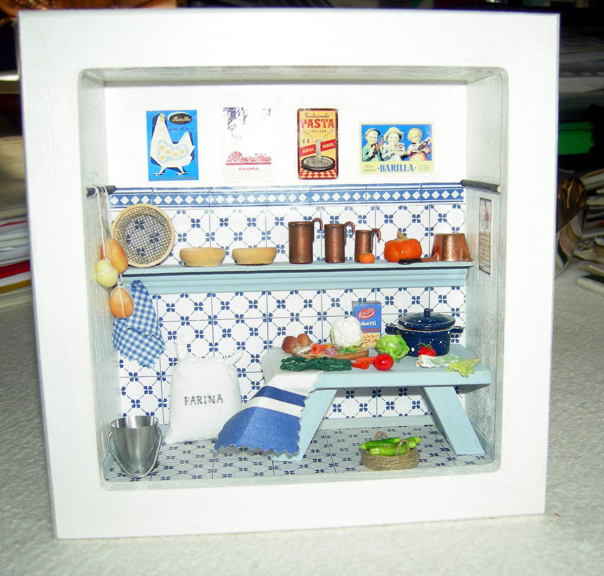 Italian kitchen - miniature roombox. $100,00, via Etsy. | Inside ...