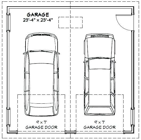 Image result for typical garage size 2 car graphic for Typical one car garage dimensions