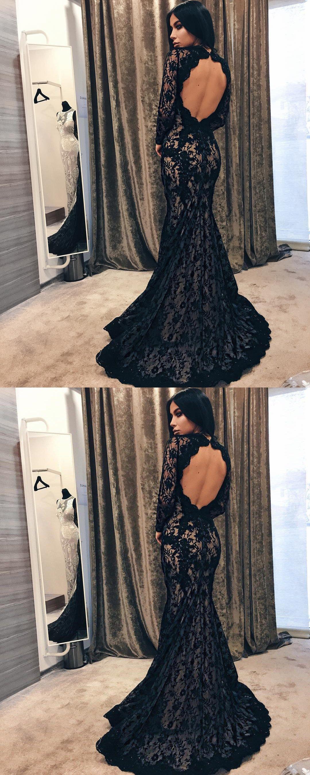Elegant mermaid open back sweep train evening dressblack lace prom