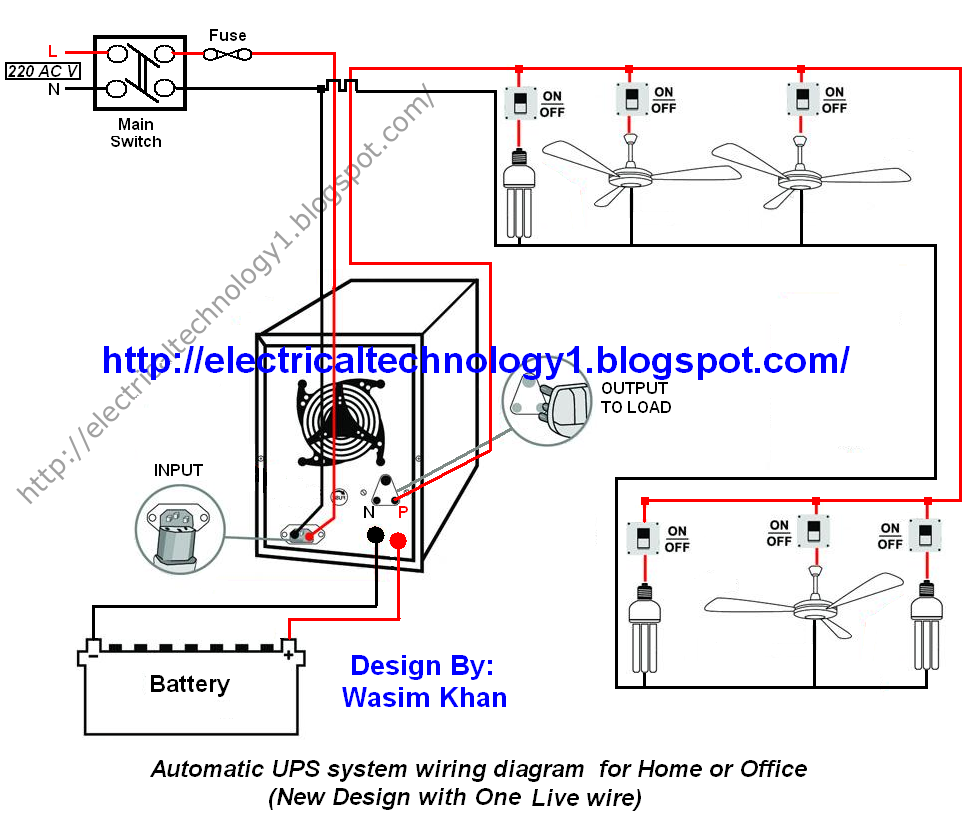 House Schematic Wiring Automatic Ups Inverter Connection Diagram To The Home System Circuit For Or Officenew Design With One Live Wire