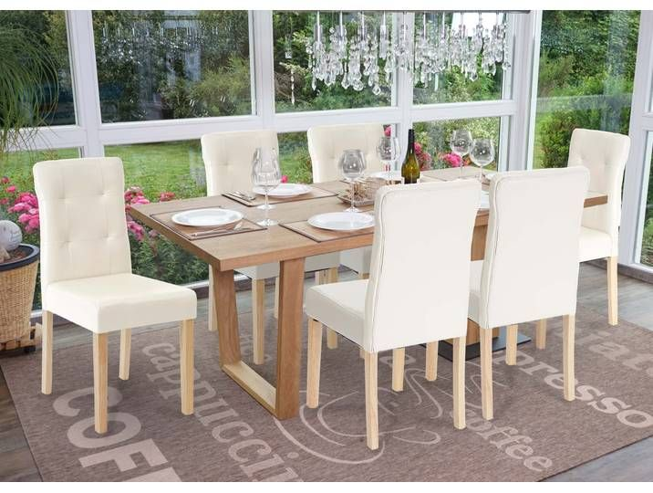6x Esszimmerstuhl Hwc E58 Stuhl Essstuhle Kunstleder Creme Helle Bei Outdoor Furniture Sets Outdoor Decor Outdoor Furniture