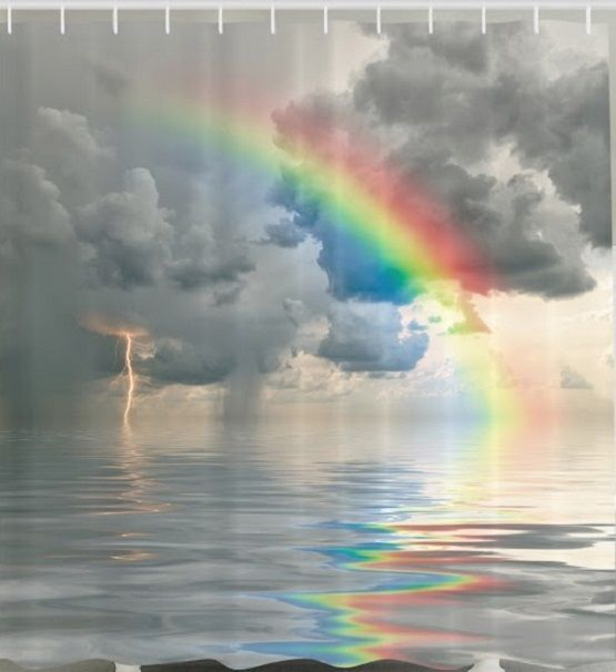 storm clouds rainbow fabric shower curtain ocean lightning water