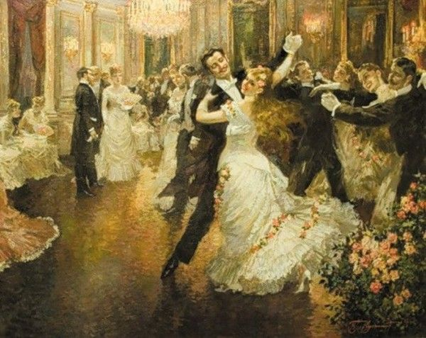 AN ELEGANT EVENING BALL DANCE BALLROOM DANCING PAINTING BY VICTOR GILBERT REPRO