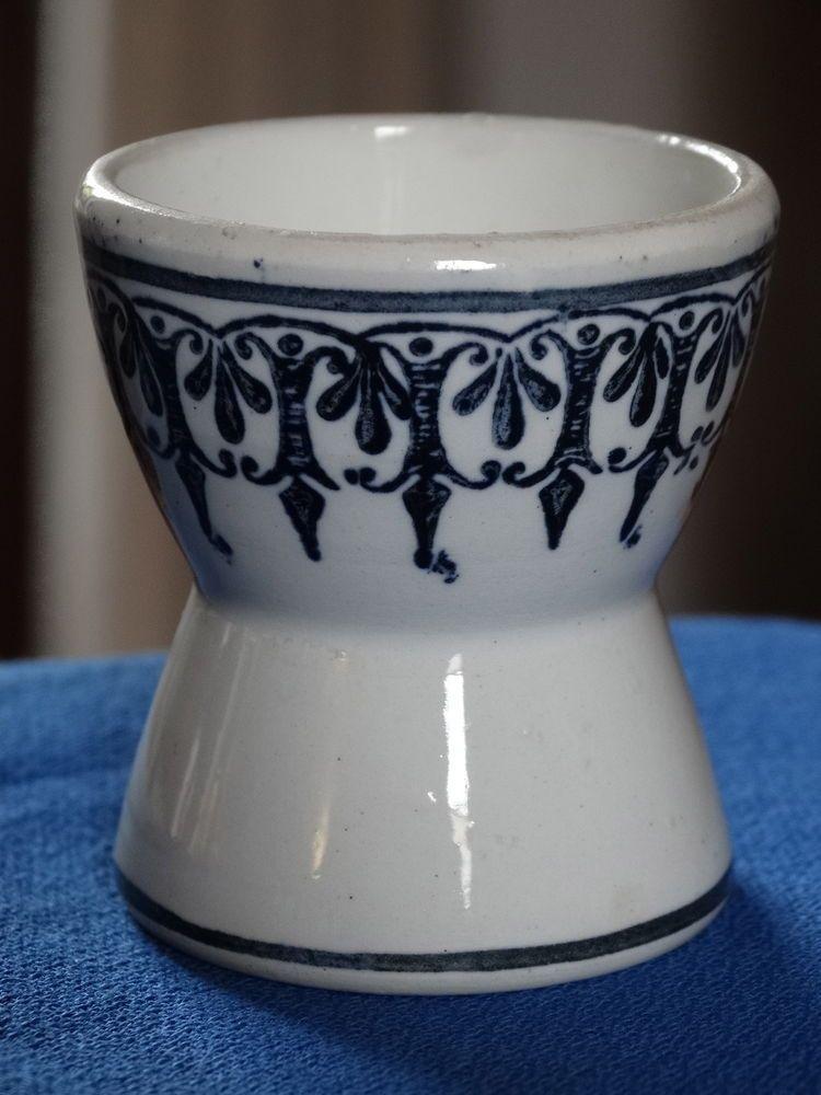 Joli COQUETIER DIABOLO faïence ancienne non identifiée décor bleu