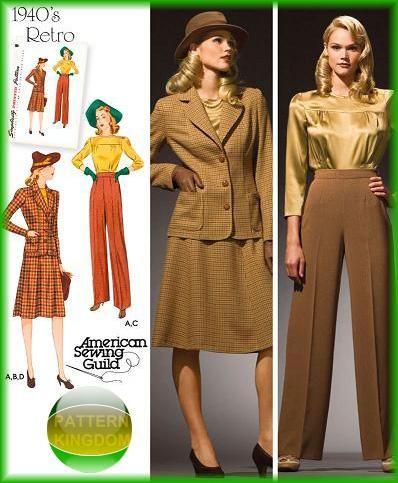 Ladies 1940s Retro Suit Pants Jacket & Skirt Patterns | Sewing ...