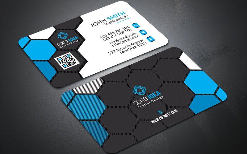 Hexagon Design Business Card Template Design Blue And Black Business Cards Creative Business Cards Corporate Identity Business Cards Creative Templates