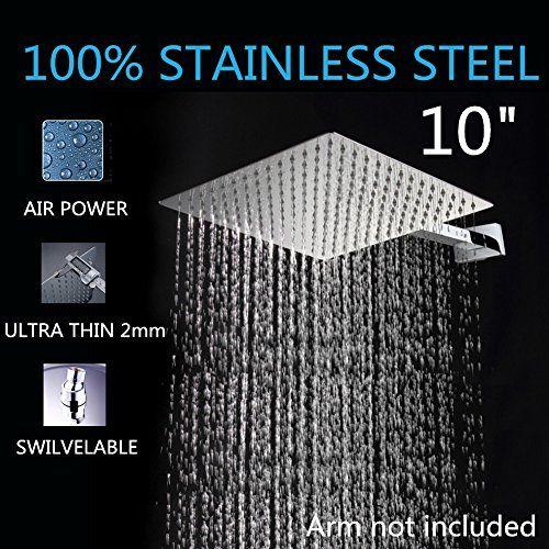 Artbath 10 Inch Large Square Rain Shower Head Ceiling Mount