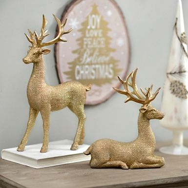 Lot Of 2 Deer Figurine Set Statue Home Decor Valentine/'s Holiday Gift Decorative