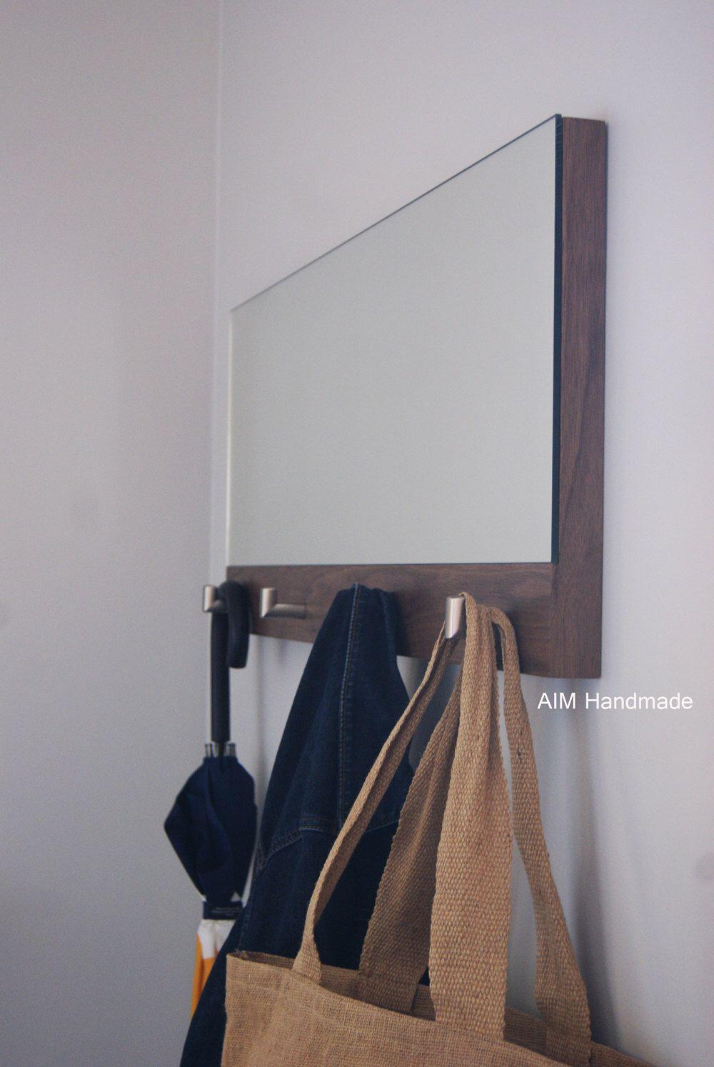 Coat Rack Mirror Walnut Hallway Mirror Entrance Way Mirror Bathroom Mirror Bedroom Mirror With Metal Hooks Handmade In Bc Canada Hallway Coat Rack Horizontal Mirrors Hallway Mirror
