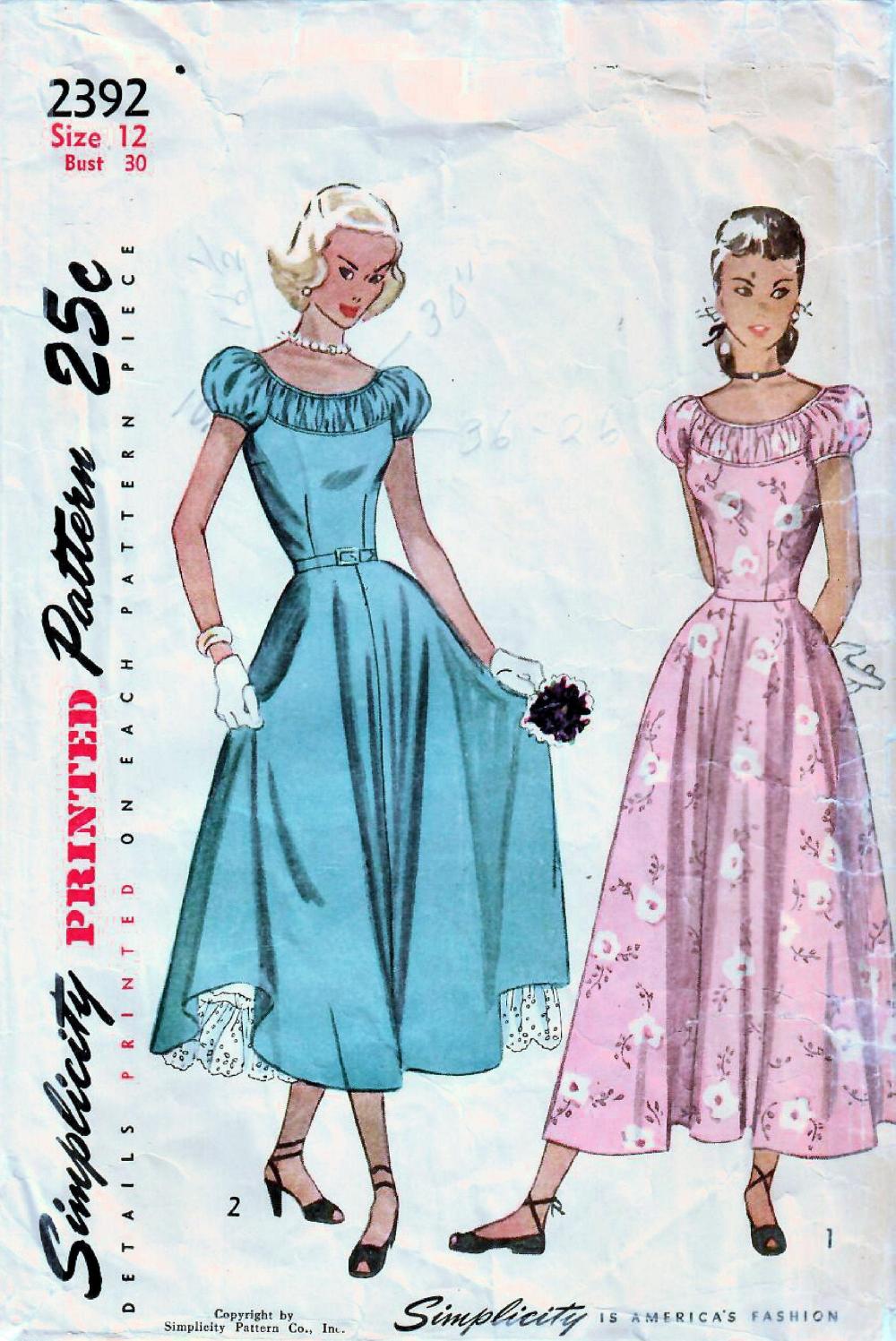 1940s Simplicity 2392 Vintage Sewing Pattern Misses Midi Etsy In 2021 Simplicity Patterns Dresses Prom Dress Pattern Evening Dress Patterns [ 1497 x 1000 Pixel ]