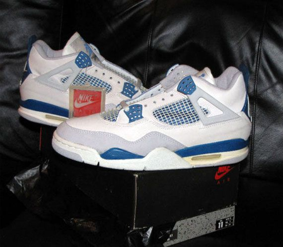 Heres a pair of OG Nike Air Jordan IV – Military Blue Sneakers from !