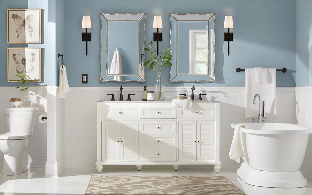 A Bathroom Featuring Beadboard Wall Paneling Home Depot Bathroom Cottage Bathroom White Bathroom Interior