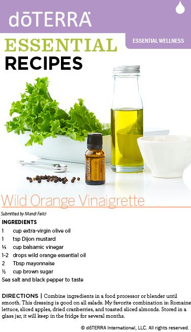 Vinaigrette recipe made with dōTERRA wild orange essential oil.